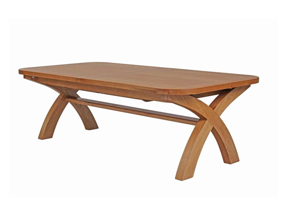 Country Oak Extra Large Extending Cross Leg Dining Table