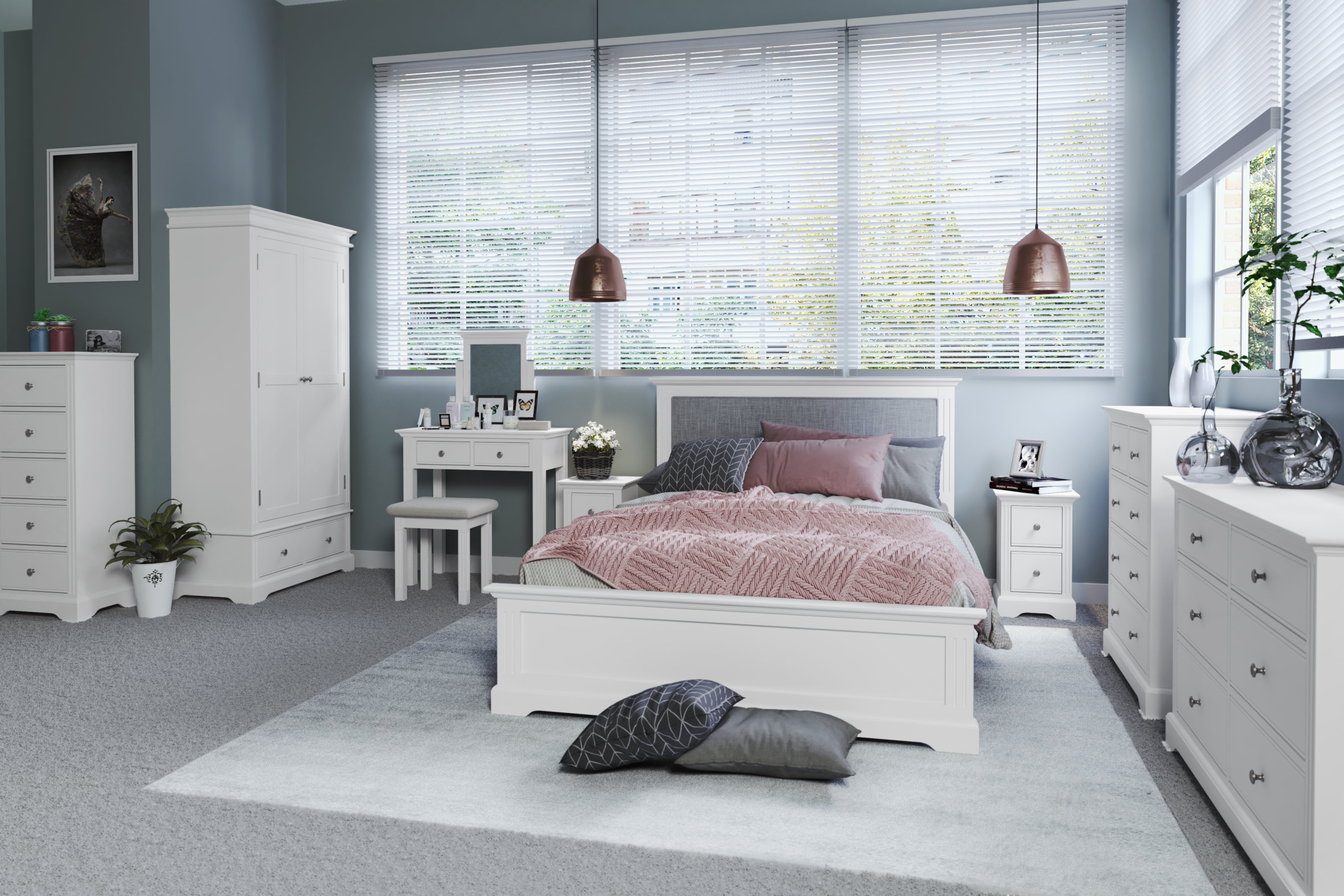 Brompton Painted Fresh White Bed Frame With Grey Fabric Headboard 3 0 4 6 5 0