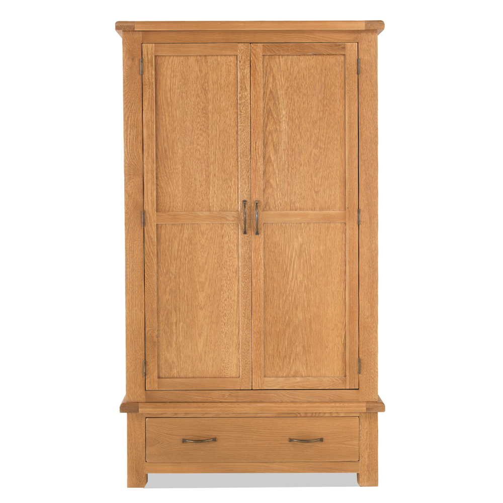 Dalby Oak Double Wardrobe With Drawers