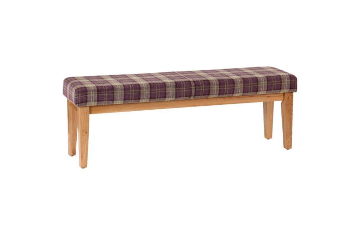 Large Solid Oak Bench With Tartan Cushioned Seat Heather